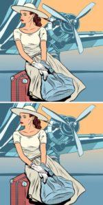 Сколько отличий на картинках с девушкой у самолета?